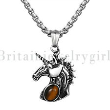 Vintage Stainless Steel Unicorn Pendant Chain Necklace with Tiger Eye Stone Men