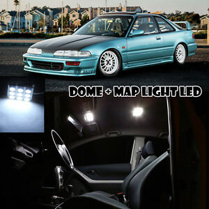 For 90-93 Acura Honda Integra Dome Map Reading Interior LED Light Bulbs Xenon