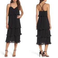 NEW True Decadence TD BLACK Tall PLEATED Layer TIERED RUFFLE Cami MIDI DRESS S