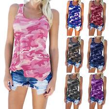 Plus Size Women Camo Sleeveless Vest Tank Tops Camisole Gym T-Shirt Blouse Tops