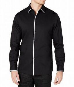 INC Mens Dress Shirt Black Size Large L 16-16 1/2 Non-Iron Longsleeve $59 #119