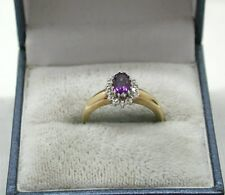 Very Pretty 9ct Gold Amethyst And Diamond Cluster Ring