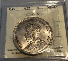 1935 Canada's First Silver Dollar - ICCS MS-65 - #XSC 910
