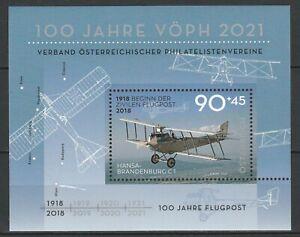 Austria 2018 Aviation, Planes MNH Block