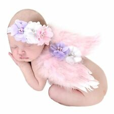 Cute Baby Pink Angel Wings Feather Newborn Fairy Party Costume Photos