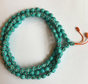 Blue Skull Beads Mala Necklace with 108+1 Skull beads Buddhism