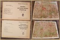 2 Karten Dresden und seine weitere Umgebung um 1940 Sachsen Geografie  sf