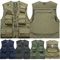 Men Fishing Vest Multi Pocket Travel Vest Trekking Outdoor Photography Waistcoat