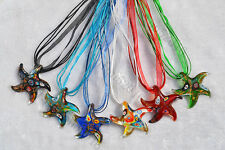 FREE Wholesale lots 6ps Flower Starfish Lampwork Glass Pendants Silk Necklace