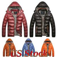Men Winter Warm Quilted Padded Hooded Puffer Coat Bubble Jacket Zip Outwear US