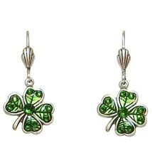 Anne Koplik Four-Leaf Green Fancy Clover Leverback Earrings ~Made in the USA~