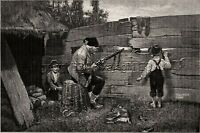 Rabbit Hunting, Grandfather Teaches Children to Hunt, Large 1880s Antique Print