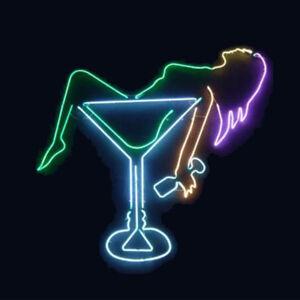 "19""x15""Lady Cocktail Glass Neon Sign Light Bar Pub Wall Hanging Nightlight Decor"
