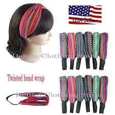 6pc Women Bohemian Twisted Knot Head Wrap Headband Knotted Boho Turban Hairband