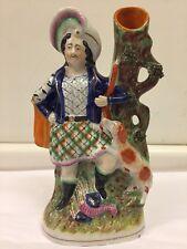 Antique Staffordshire Pearlware Spill Vase Figure of a Highlander, circa 1890