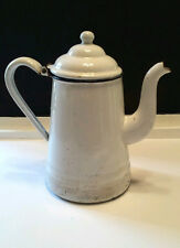"Vtg White Enamel Tea Pot Rustic Farmhouse Chic Camping Kettle 10"" Curved Spout"