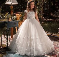 Flower Girl Dresses  Beading Appliqued Pageant Dresses For First Kids Prom Dress