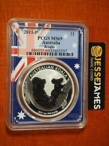 2011 P $1 AUSTRALIA SILVER KOALA PCGS MS69 AUSTRALIAN FLAG CORE HOLDER 1 OZ .999