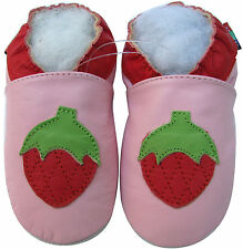 shoeszoo pink strawberry 12-18m S soft sole leather baby shoes