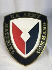 "US Army Material Command Plastic Emblem Wall Hanging 10""x 8.25"" Vintage"