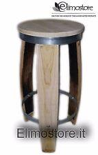 Sgabello in legno da doghe di botte in castagno 80 CM  barriques