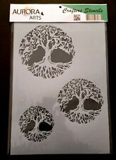 Stencil by Aurora Arts A4 Tree Of Life set 190mic Mylar craft stencil 091