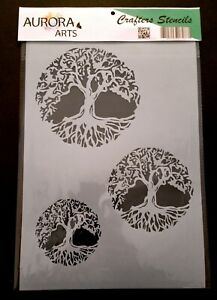 Stencil by Aurora Arts A4 Tree Of Life set 190mic Mylar craft stencil 091