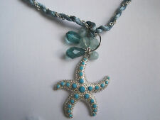 Express Starfish Necklace - light blue rope cord with silver - blue plastic bead