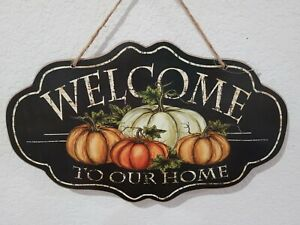 Fall Thanksgiving WELCOME Pumpkins Hanging Wall Sign Tabletop Plaque Decor