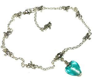 Silver Turquoise Heart Bead Ankle Bracelet Dragonfly Chain Anklet Foot Jewellery