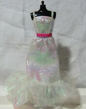 Vtg SuperStar Era Crystal Barbie Iridescent White Dress w/ Pink Purple Not Repro