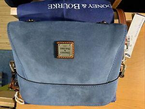 Dooney & Bourke Blue/Brown Suede Cameron Crossbody Handbag Adjustable Strap