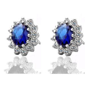 Zircon Women Small Earrings Blue Clear Red Queen Design Oval CZ Rhinestones