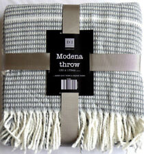 LARGE MODENA THROW SILVER GREY & WHITE 170 X 130cm  !! SUMMER SALE 5% OFF  !!