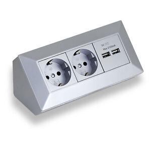Steckdose 2x Schuko 2x USB Küche Büro Werkstatt Aufbaumontage Ecksteckdose grau