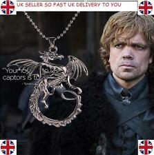 Game Of Thrones Black House of Targaryen Dragon Chain Pendant Necklace Jewellery