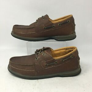Cabelas Casual Boat Shoes Loafer Mens 11EE Brown Leather Moc Toe Slip On 82-4788