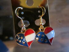Patriotic Red White & Blue Heart dangle/drop earrings