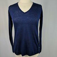 Lilly Pulitzer Liesel Blue 100% Linen V Neck Summer Sweater Long Sleeve XS