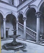 Courtyard, Palazzo Gondi, Florence, Italy, Magic Lantern Glass Slide
