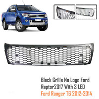Matte Black Grille Grill With 3 LED For Ranger T6 PX1 MK1 12 13 14 NO FORD LOGO