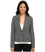 NWT Calvin Klein Womens Black White Tweed Striped Blazer Suit Jacket Size 8
