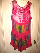 Hot Pink/Black Embroidered Tie Dye Full Dress/Cover-Up Gauze 2X 3X 4X Long NWT