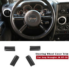 Interior Carbon Fiber Steering Wheel Panel Cover Trim For Jeep Wrangler Jk 2007+