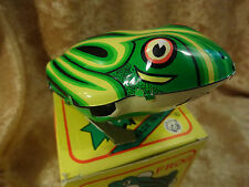 Vintage Wind-up Jumping Frog 1980's - 90's Working New in Box Tin Exc Graphics