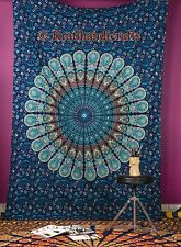 Indian Mandala Peacock Psychedelic Tapestry Twin Hanging Throw Bohemian Coverlet