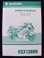 GENUINE 1999 SUZUKI 1300 GSX1300R  MOTORCYCLE OWNER'S MANUAL VERY CLEAN