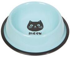 New listing Danica Studios Cats Meow Cat Bowl Blue Black Cat Coated Steel