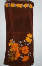 "Vtg Vossen Germany Tropical Floral Hawaiian Print Towel 37 x 18"" Browns Oranges"