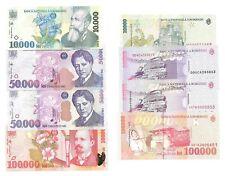 Roumanie Romania 10000 - 50.000 - 100.000 Lei 1996 - 1998 - 1999 - 2000 UNC/NEUF